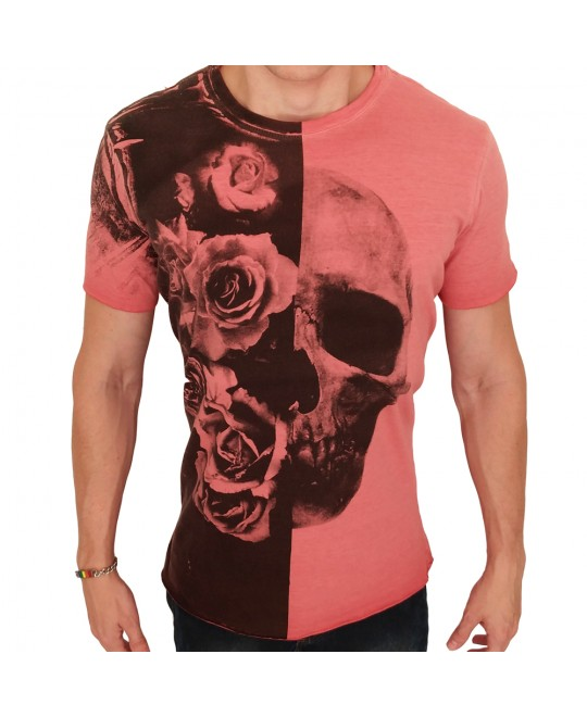 Camiseta Biotwo Flowers and Skull