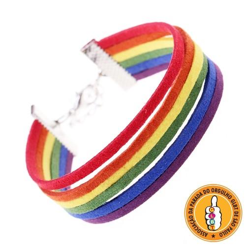 Pulseira LGBT Arco-íris Camurça