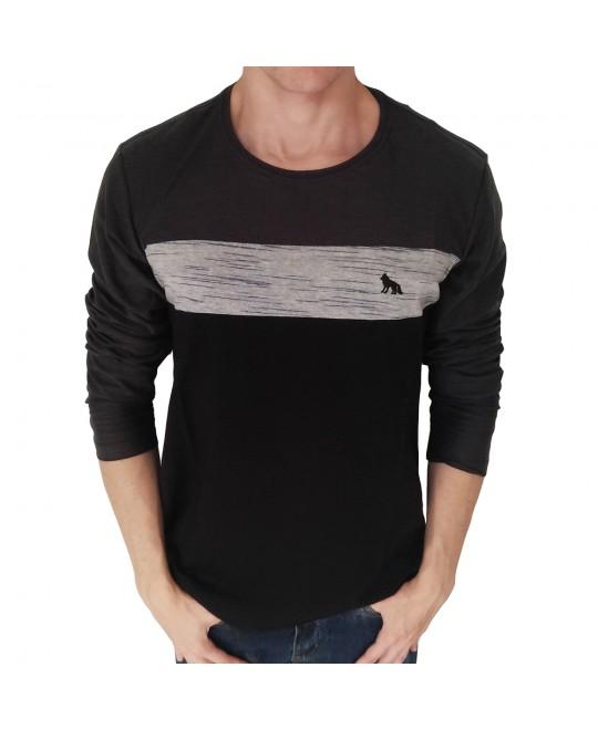 Camiseta Acostamento Manga Longa Listra Preta