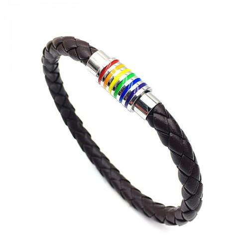 Pulseira LGBT Arco-Íris Couro