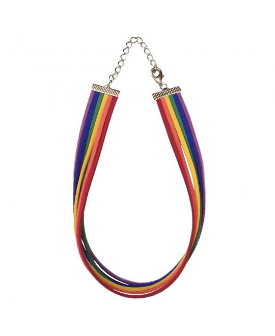 Colar Choker LGBT Arco-Íris Camurça