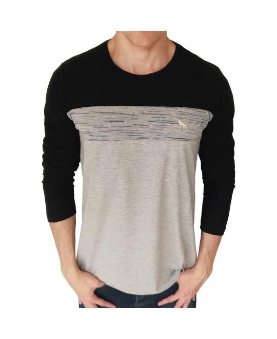 Camiseta Acostamento Manga Longa Listra Mescla