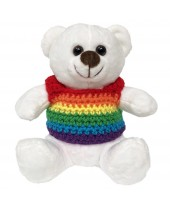 Ursinho Teddy Bear Arco-Íris Branco