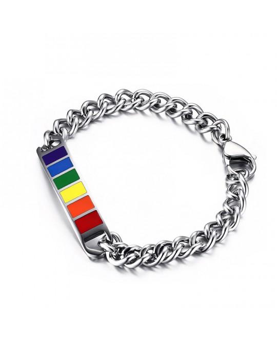 Pulseira LGBT Arco-Íris Aço