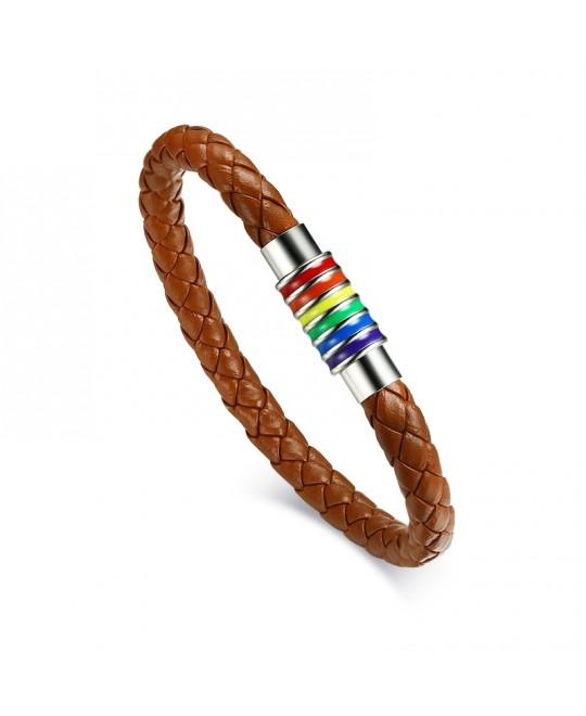 Pulseira LGBT Arco-Íris Couro Marrom